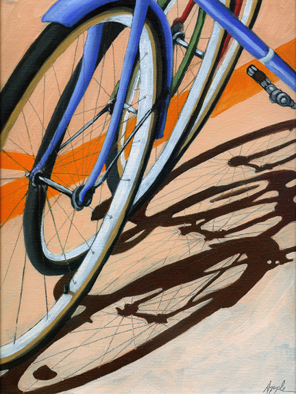 Three Wheels - bicycle art oil painting