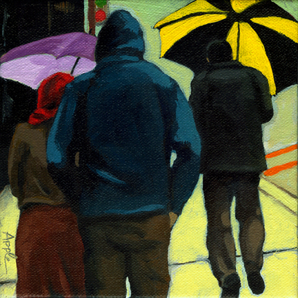 Figurative City Painting - Odd Man Out