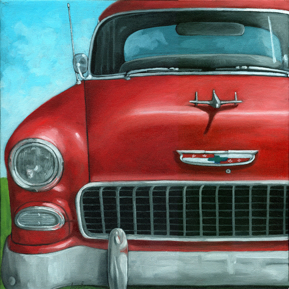 55' Vintage Red Chevy classic car