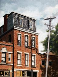 Old Brick BUilding - city oil painting
