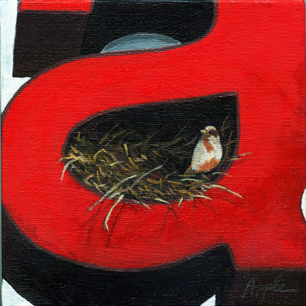 Bird in Nest - animal art