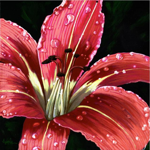 After the Rain - realistic floral painting Day Lily