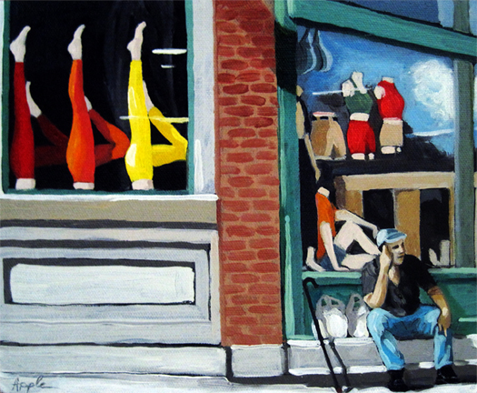 Its All About the Legs - figurative city urban oil painting