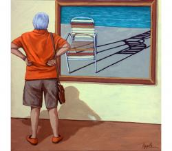 Poolside vintage chair figurative painting
