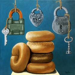 BAGELS and LOCKS imaginative realistic narrative painting by L.Apple