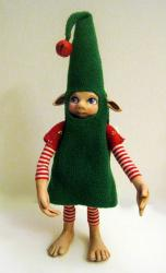 Christmas Elf - Bashful ooak art doll sculpture