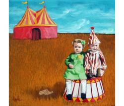 Big Dreams Circus adventure mixed media painting