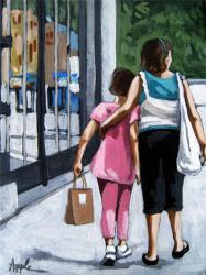 Big Sister girls shopping on city street figurative painting