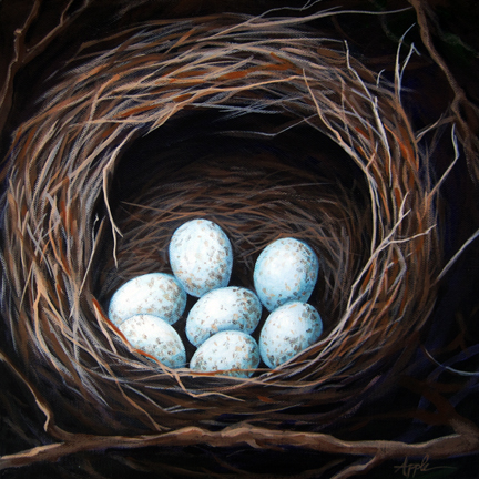 Bird Nest with eggs realistic still life