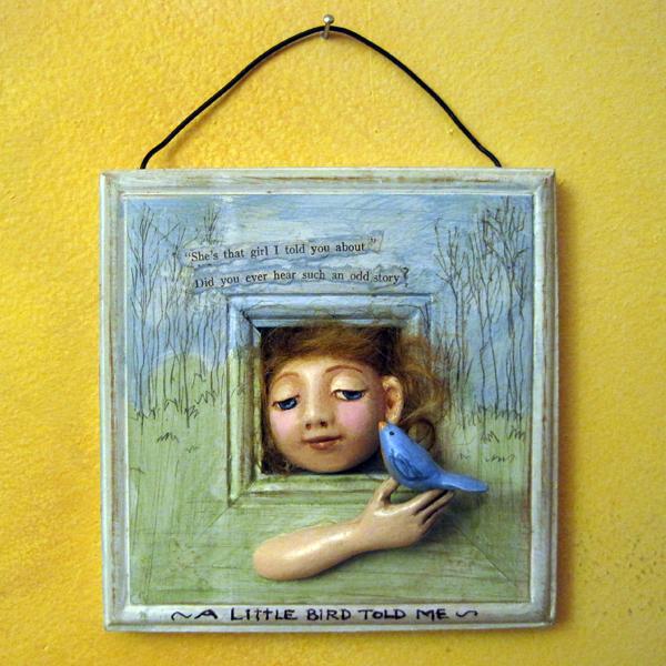 A Little Bird Told Me 3D relief sculpture wall hanging