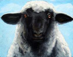 Black Face Farm Sheep realistic animal painting