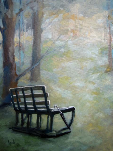 Park Bench landscape impressionistic oil painting