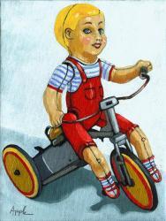 Springtime Ride - antique windup boy