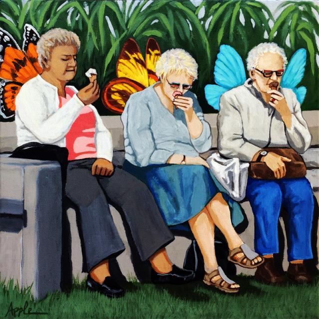 Butterflies Like Ice Cream Too Figurative women whimsical painting