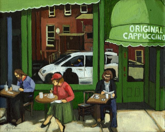Original Cappuccino - contemporary figurative city scene