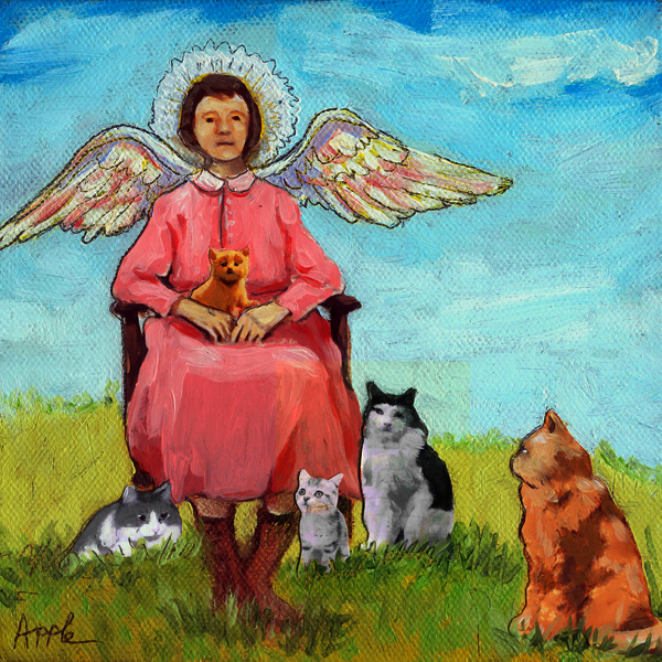 Guardian Angel - cat fantasy mixed media oil painting