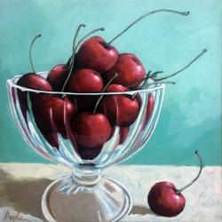 Bowl of Cherries still life original realistic food painting