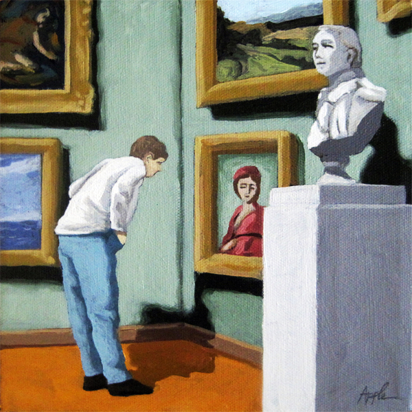 Woman Viewing Art - figurative oil painting