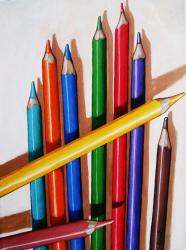 Color the Day Happy - still life colored pencils painting