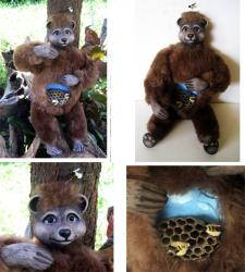 Bee Dazzled - brown bear and bumblebees art doll sculpture