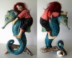 Horse of a Different Color - Seahorse and Figure Sculpture