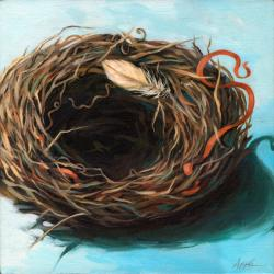 They Have Moved On - Bird Nest oil painting