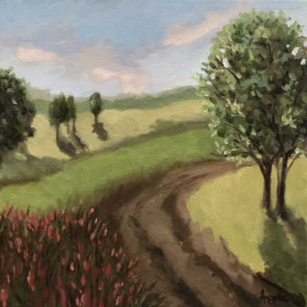 Country landscape old road impressionistic oil painting