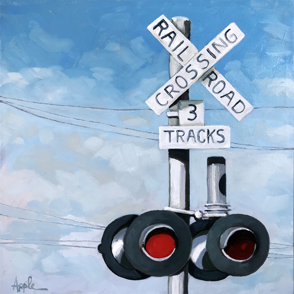 The Crossroads - original train art oil painting