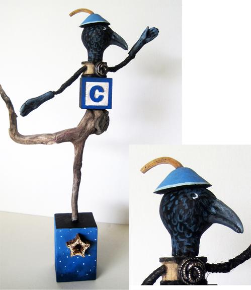 As the Crow Flies - mixed media sculpture art doll