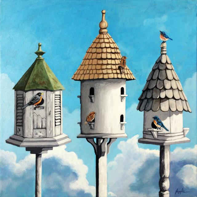 The Cul de Sac - realistic birdhouses bird painting