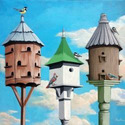 The Cul de Sac 2 - realistic birdhouses bird painting