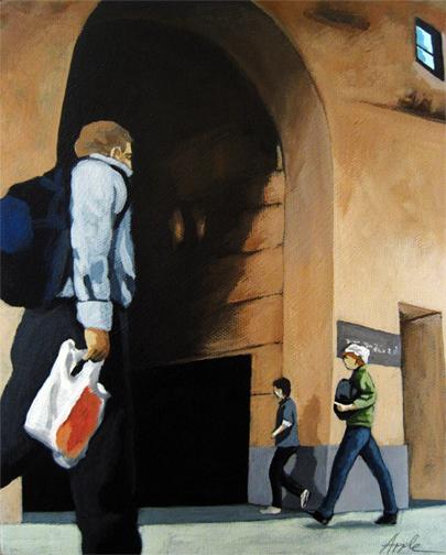 Day in the City - figurative people urban city street scene