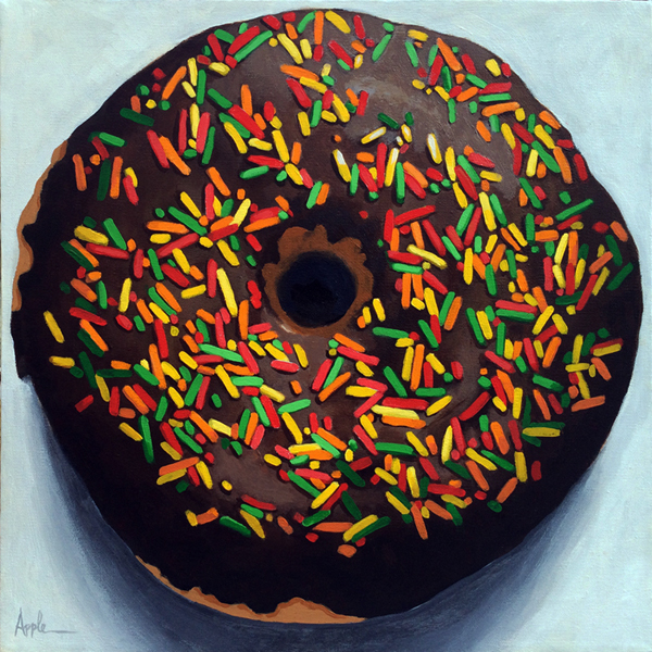 Realistic Donut with Sprinkles Still Life Original Painting