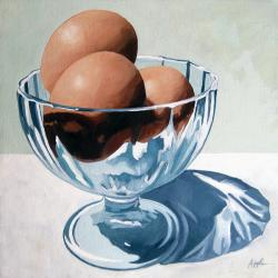 Eggs and Glass Dish - realism still life oil painting
