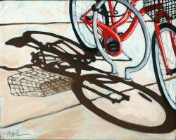 Empty Basket - bicycle shopping day oil painting