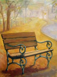 Fall Empty Bench - fall landscape
