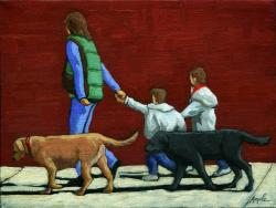 Family Outing - figurative oil painting
