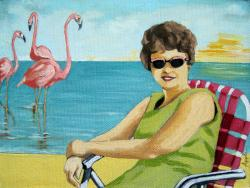 Flamingo Beach - figurative oil painting