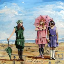 Real Friends - figurative vintage beach scene original