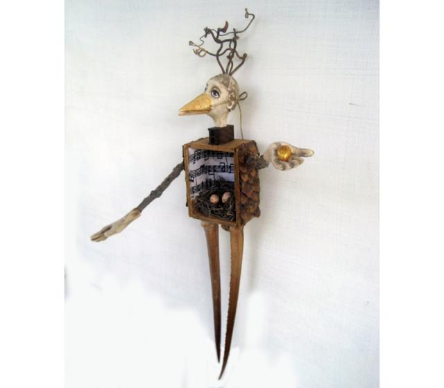 Prosperity - Woodland Bird Figure mixed media wood art doll sculpture