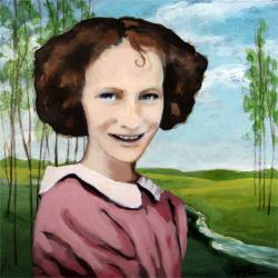 Girl With A Curl - mixed media vintage image painting