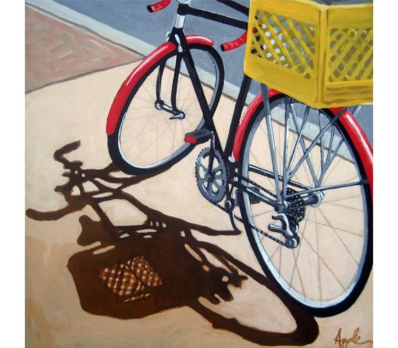 Red Bike Yellow Basket  bicycle art