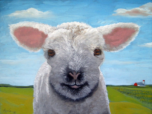Happy Day farm animal sheep lamb landscape