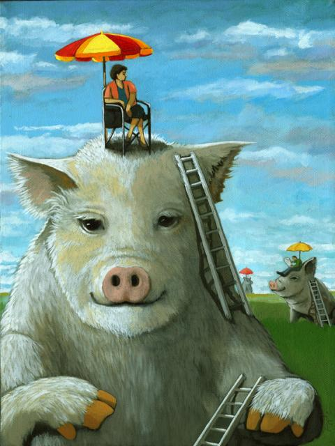 High on the Hog - surreal fantasy oil painting