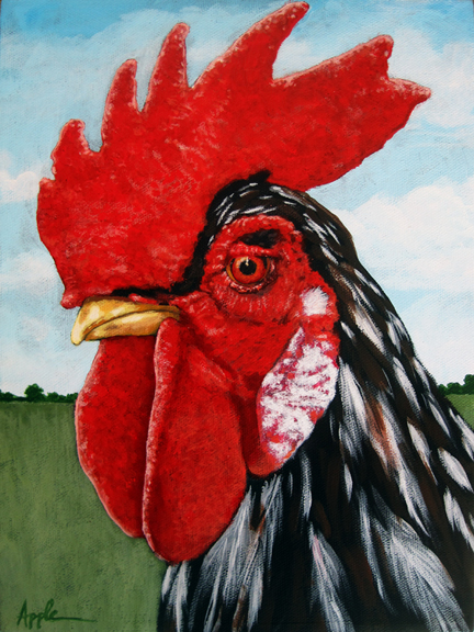 ROOSTER farm animal art Original Oil Painting by L. Apple