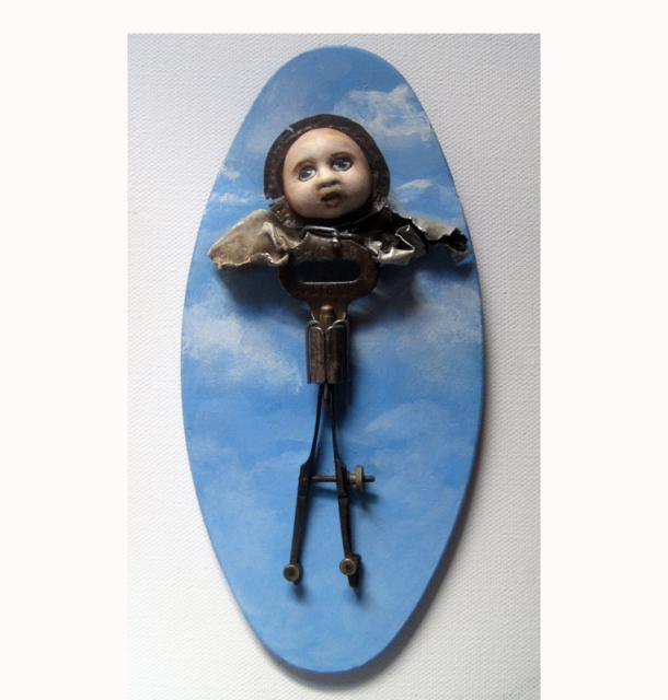 The Little Angel - mixed media found object sculpture