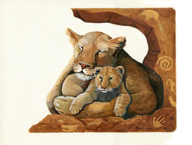 Lion & Cub - original wildlife painting