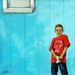 Little Boy Blue - figurative oil painting