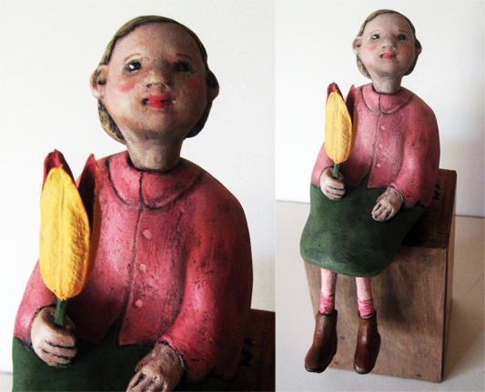 My Favorite Flower -little girl  art doll sculpture