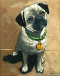 Little Pug - original oil painting